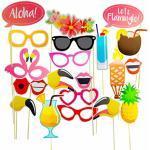 Homankit 21 Stück Flamingo Hawaii Foto Requisiten Foto Accessoires für Sommer Strand Urlaub Geburtstag Hochzeit Party