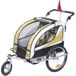 HOMCOM® Fahrradanhänger Hundeanhänger Kinderfahrradanhänger Kinderwagen 2 in 1 Jogger mit Reflektoren Zusammenklappbar Stahl Oxford Gelb Schwarz 155 x 88 x 108 cm