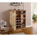 Home affaire Barschrank Alankar, aus massivem Mangoholz, mit schöner Fräsung auf den Türenfronten, Höhe 113 cm beige Bartische, Theken Tresen Barmöbel Küchenmöbel