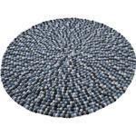 Home affaire Wollteppich Maja, rund, 22 mm Höhe, reine Wolle, Filzkugel-Teppich, Wohnzimmer blau Esszimmerteppiche Teppiche nach Räumen