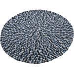 Home affaire Wollteppich »Maja«, rund, Höhe 22 mm, reine Wolle, Filzkugel-Teppich, Wohnzimmer, blau, blau-multi
