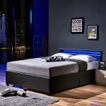 Home Deluxe LED Bett NUBE mit Schubladen - 140 x 200 cm Dunkelgrau