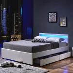 Home Deluxe LED Bett NUBE mit Schubladen - 140 x 200 cm Weiß