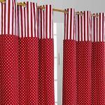 Homescapes Kindervorhang Mädchen Kinderzimmer Ösenvorhang Dekoschal Polka Dots 2er Set rot weiß 137 x 182 cm (Breite x Länge je Vorhang) 100% Reine Baumwolle