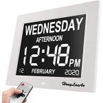 """HongLanAo ® 8""""Digitaler Kalender Tag Uhr mit Nicht Abbreviated Tag & Monat & Digital Kalender - Woche Zeit Alzheimeruhr,Seniorenuhr Sehr Gut Geeignet für ältere (weiß)."""