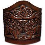 Hoppe & Masztalerz Lederarmband geprägt 90MM aus Vollrindleder keltische Wölfe mit Vögel mit Vögel (8) braun-antik zum binden (20,5 Zentimeter)