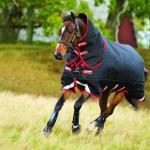Horseware Rambo Supreme mit Vari-Layer Heavy 450g incl. abnehmbarem Halsteil / black with red - Weidedecke