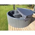 Hot Tub Badebottich GRAU Badetonne Badefass Badezuber ø200cm integrier Holzofen
