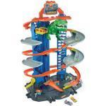 HOT WHEELS GJL14 Hot Wheels Megacity Parkgarage mit T-Rex-Angriff, Autorennbahn inkl. 2 Spielautos