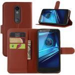 HualuBro Moto X Force Hülle, [All Around Schutz] Premium PU Leder Leather Wallet HandyHülle Tasche Schutzhülle Flip Case Cover für Motorola Moto X Force Smartphone (Braun)