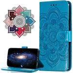 Hülle Kompatibel mit Huawei Y6 Pro 2017, Premium Leder Flip Schutzhülle [Standfunktion] [Kartenfächern] PU-Leder Schutzhülle Brieftasche Handyhülle für Huawei P9 Lite Mini. LD Mandala Blue