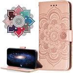 Hülle Kompatibel mit Huawei Y6 Pro 2017, Premium Leder Flip Schutzhülle [Standfunktion] [Kartenfächern] PU-Leder Schutzhülle Brieftasche Handyhülle für Huawei P9 Lite Mini. LD Mandala Rose