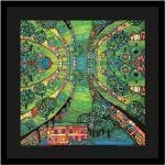 Hundertwasser Grüne Stadt Poster Kunstdruck Bild im Alu Rahmen in schwarz 48x48cm