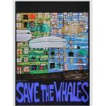 Hundertwasser Save The Whales Poster Kunstdruck Bild im Alu Rahmen in Silber matt 84,1x59,4cm