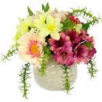 I.GE.A. Kunstblume Arrangement Blüten, Topf aus Keramik rosa Künstliche Zimmerpflanzen Kunstpflanzen Wohnaccessoires