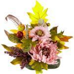 I.GE.A. Kunstpflanze Chrysantheme, Höhe 20 cm, Gesteck auf Stein, rosa