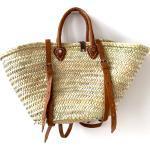 Ibiza Strandtasche Groß Aus Palmfasern Mit Lederhenkeln Und Lederschnallen Picknickkorb Rucksack Von Cano-Flow