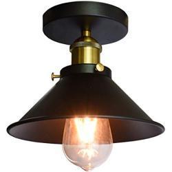iDEGU Industrielle Deckenleuchte aus Metall Design Edison Kronleuchter Pendelleuchte Vintage Lampe E27 Beleuchtung Dekoration 22 cm (schwarz)