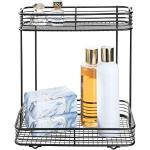 iDesign Vienna Badregal, praktischer Korb aus Metall mit zwei Etagen zur Kosmetikaufbewahrung oder für Shampooflaschen, mattschwarz
