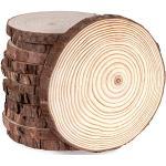 ilauke 12 Stücke Holzscheiben Holz Log Scheiben 12-13cm Runde Naturholz Baumscheiben Ca.10mm Dicke für DIY Handwerk Holz-Scheiben Hochzeit Mittelstücke Weihnachten Dekoration Baumscheibe