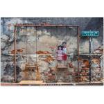 ImageLand Glasbild Digitaldruck Street Art mit Schaukel, 80 x 120 cm Digitaldruck hinter Acrylglas
