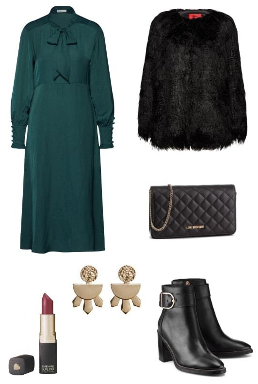 Grünes Kleid mit schwarzer Felljacke und Stiefeletten