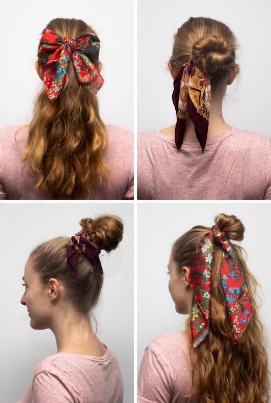 Dutts mit Haarband und Zöpfe mit Haartüchern