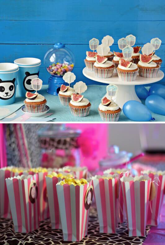 Kuchenständer mit Cupcakes und Ballons und gestreifte Popcorntüten