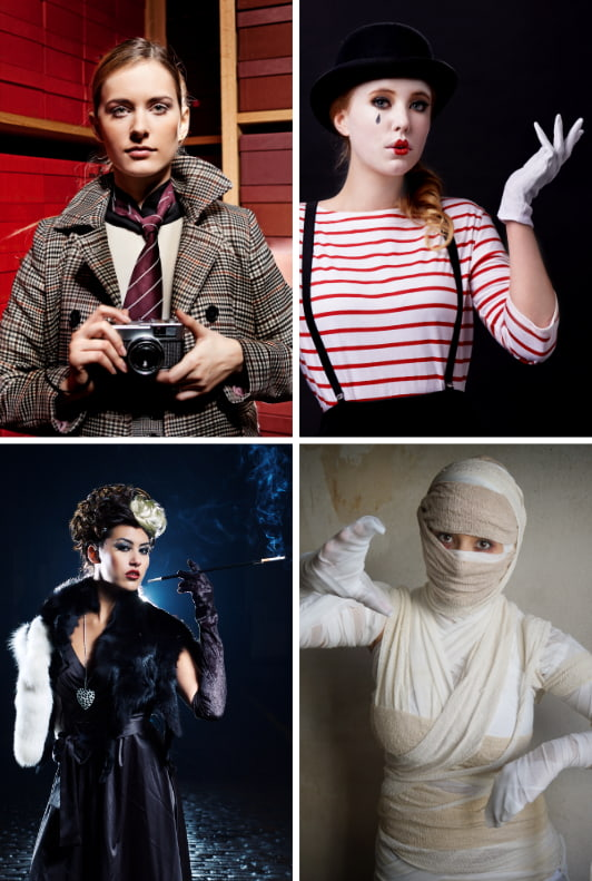 Detektivin-Kostüm, Frau im Pantomime-Kostüm, Frau im Cruella de Vil Kostüm, Frau im Mumien-Kostüm