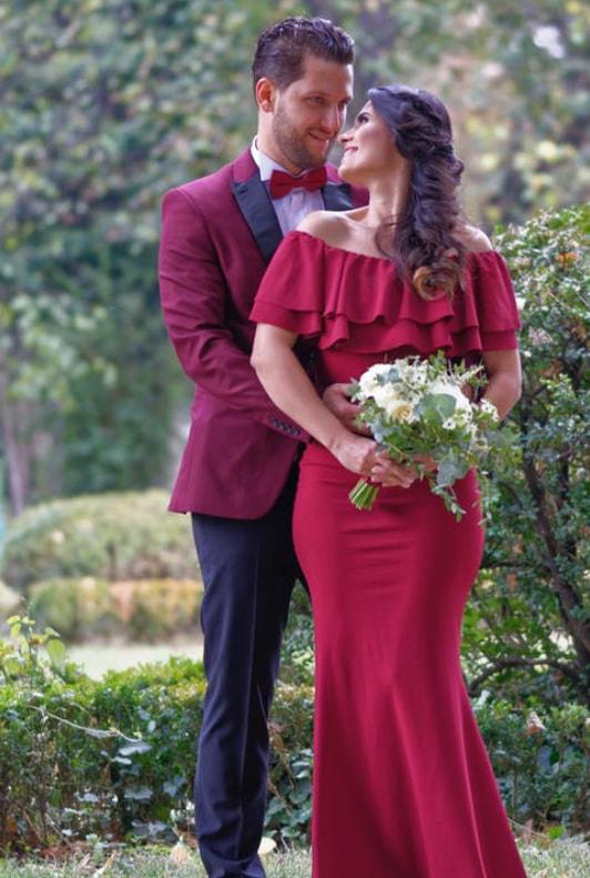 Für hochzeit langes kleid rotes Farbige Hochzeitskleider