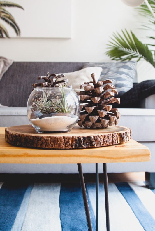 Holztablett mit Tannenzapfen