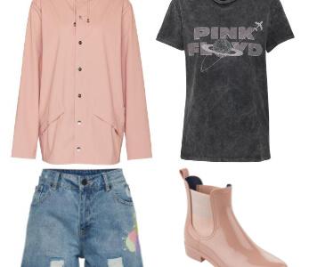 Rosa Regenjacke mit Shorts