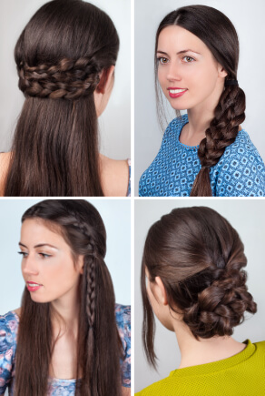 Flechtfrisuren halboffene Haare, Hochsteckfrisur und breiter Zopf