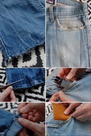 Jeans mit Fransensaum und Taschen im Used-Look