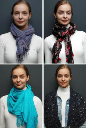 Frau trägt Schals in vier Varianten