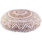 indischen rund Mandala Kopfkissen 81,3cm groß golden Ombre Boden Kissen, dekorativer Überwurf-, POM POM Outdoor Kissenbezug, Boho Pouf Polsterhocker, Roundie kissenrollen gold