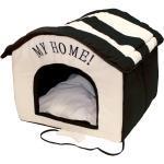 Indoor Hundehütte, Hundehöhle, Hundehaus, Größe: 60 cm - schwarz / beige