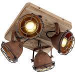 Industrie / Industrial / VintageDeckenspot / Deckenstrahler / Spot rostbraun mit Holz kippbar 4-Licht - Gina Industrie / Industrial / Vintage GU10 4-flammig Innenbeleuchtung