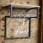 Industry Hängegarderobe in Anthrazit aus Stahl Massivholz Hutablage