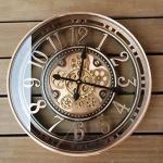 INFINITY TIME 53,3 cm echte bewegliche Zahnrad-Wanduhr im Vintage-Stil, Steampunk-Stil, übergroße Metall-Wanduhr mit arabischen Zahlen, glänzendes Kupfer