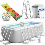 Intex Prism Frame Swimming Pool rechteckig 400 x 200 x 122 cm Komplett-Set mit Leiter & Pumpe 26790 sowie Extra-Zubehör wie: Luftmatratze und Strandball