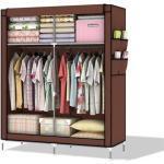 Intirilife Kleiderschrank Faltschrank 108x45x170 cm in BIBER BRAUN - Schrank mit Reißverschluss aus Stoff Kleiderschrank mit Kleiderstange, Seitentasche und Fächern