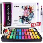 Intrend Farbkasten Aquarellfarbkasten, 36 Farben, inkl. Nylon- und Wassertankpinsel und Aquarellpapier