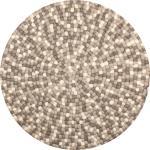 Isla - Filzkugelteppich rund, Ø160 cm, Braun/Weiß/Grau