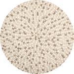 Isla - Filzkugelteppich rund, Ø160 cm, Weiß/Braun/Sand