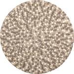 Isla - Filzkugelteppich rund, Ø90 cm, Braun/Weiß/Grau