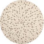 Isla - Filzkugelteppich rund, Ø90 cm, Weiß/Braun/Sand