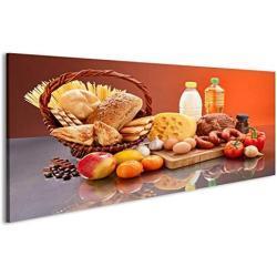 islandburner Bild Bilder auf Leinwand Viele tägliche Lebensmittel Zutaten Küchenbild Wandbild Leinwandbild Poster