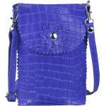 ITALYSHOP24 Schultertasche »Damen Leder Handytasche Tasche CrossBody«, als Schultertasche, CrossOver, Umhängetasche tragbar, blau, Royalblau