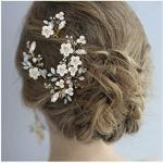 IYOU Brautschmuck Hochzeit Haarkamm Silber Blume Strass funkelnd Kristall Braut Blatt Seitenkämme Perlen Haarschmuck für Frauen und Mädchen 3 Stück